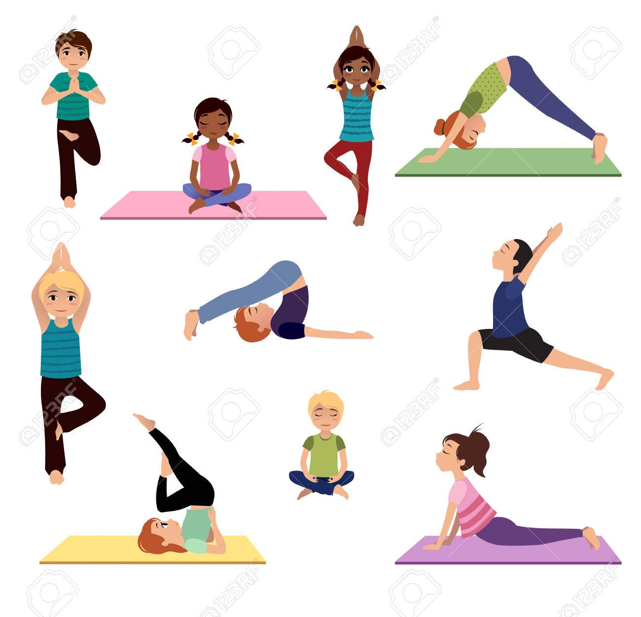 Yoga For Kids Asanas Set Of Yoga Poses And Healthy Lifestyle Royalty Free Cliparts Vectors And Stock Illustration Image 68606137