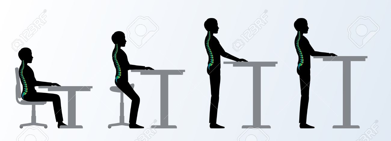 Ergonomic. Height Adjustable Desk Or Table Sitting And Standing Pose Of A  Man. Saddle