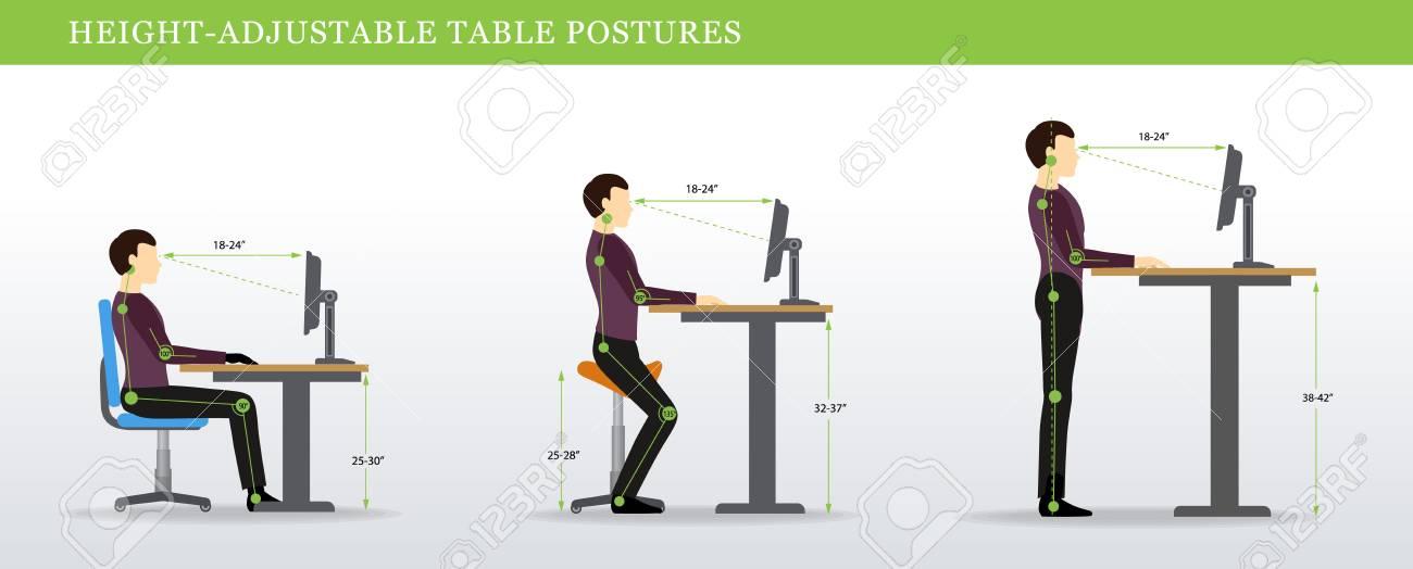 Height Adjustable and Standing Desks correct poses. Ergonomics healthy postures. - 90027554