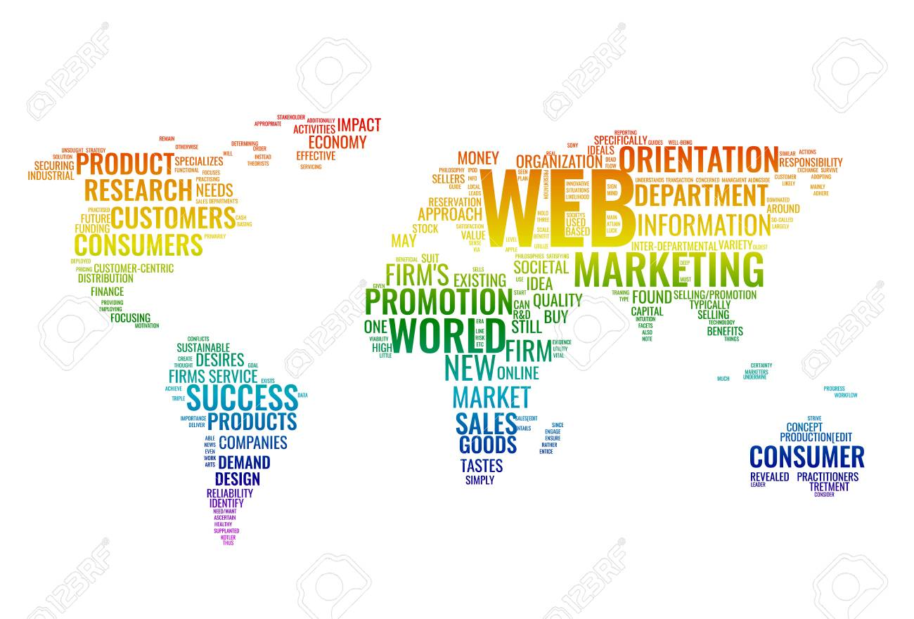 Web marketing word cloud business concept typography design vector web marketing word cloud business concept typography design text block composition from words for web design colorful world map created from gumiabroncs Choice Image