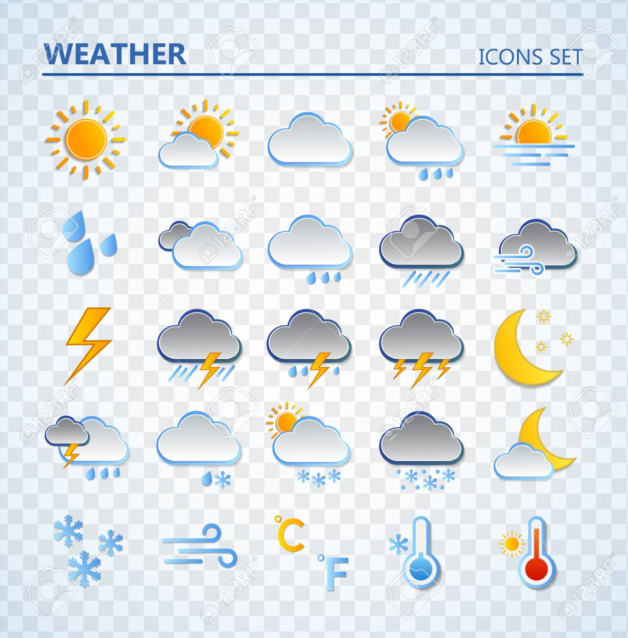 Weather icons set. Cartoon colorfull art vector illustrations. Sticky symbols of forecast. Meteorological infographics signs. Web icons vector design - 117349286
