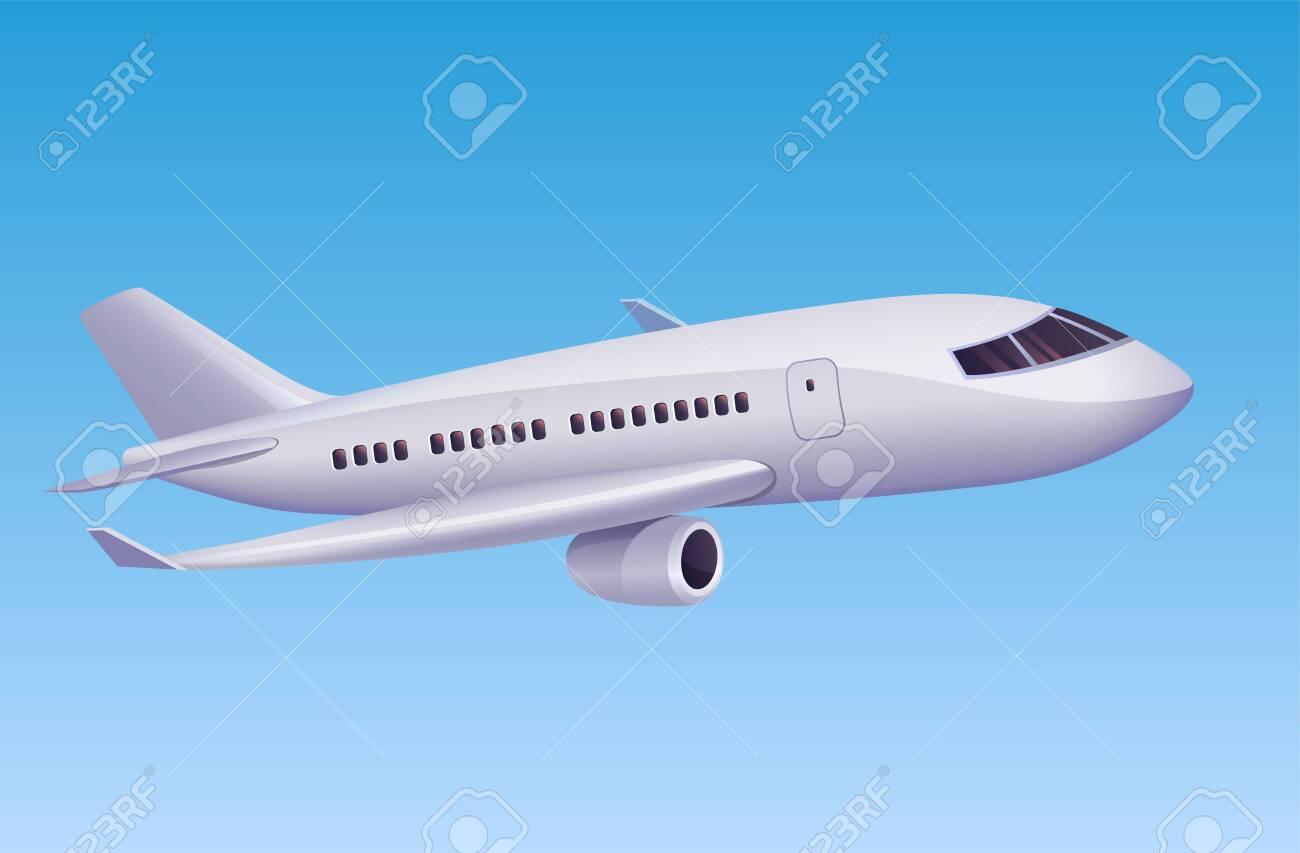 Modern airplane flying in sky. Vector illustration of cartoon modern plane for travel agency or aviation poster design. - 123674138