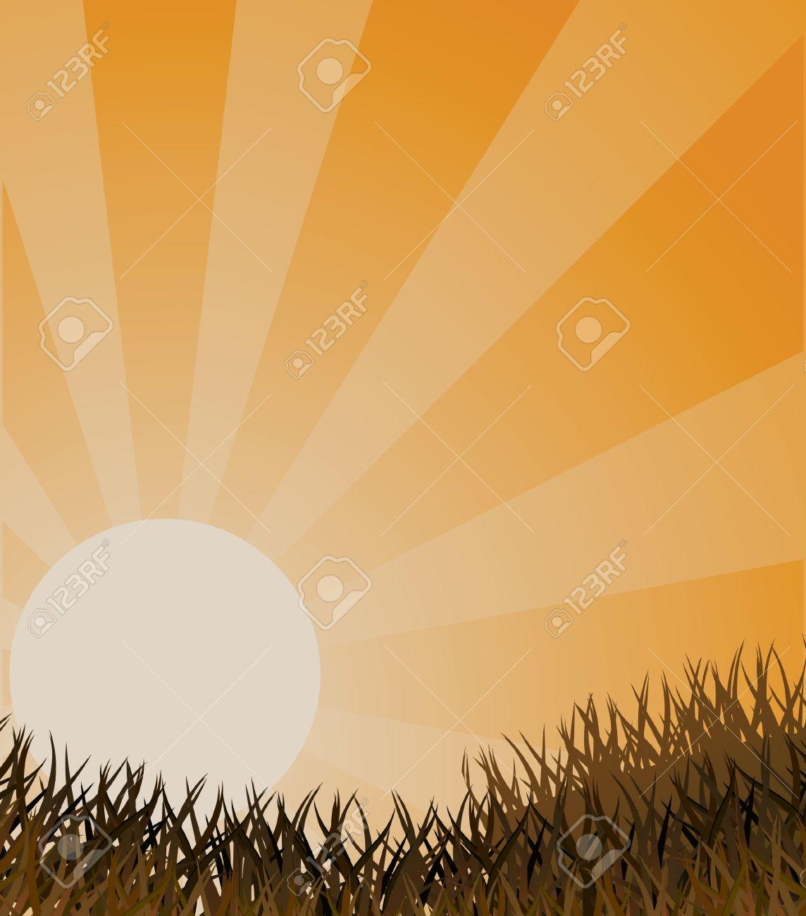 Autumn landscape in orange colour. Vector illustration Stock Vector - 5370812