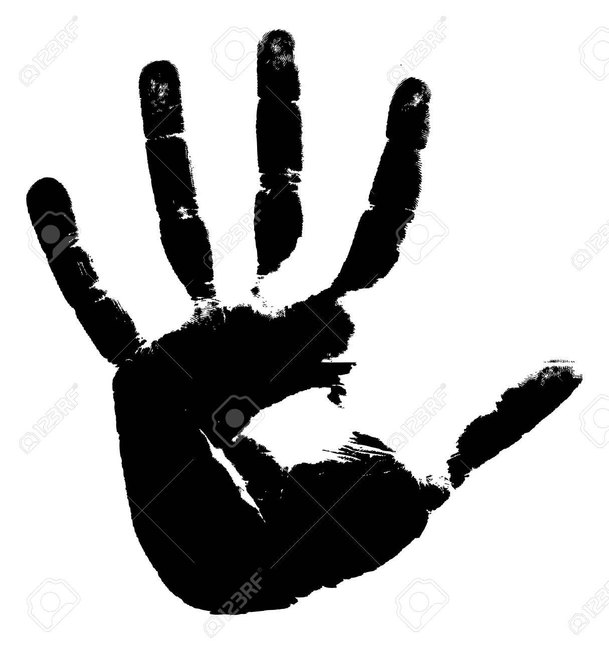 Black print of a hand on a white background. Vector illustration Stock Vector - 6292798