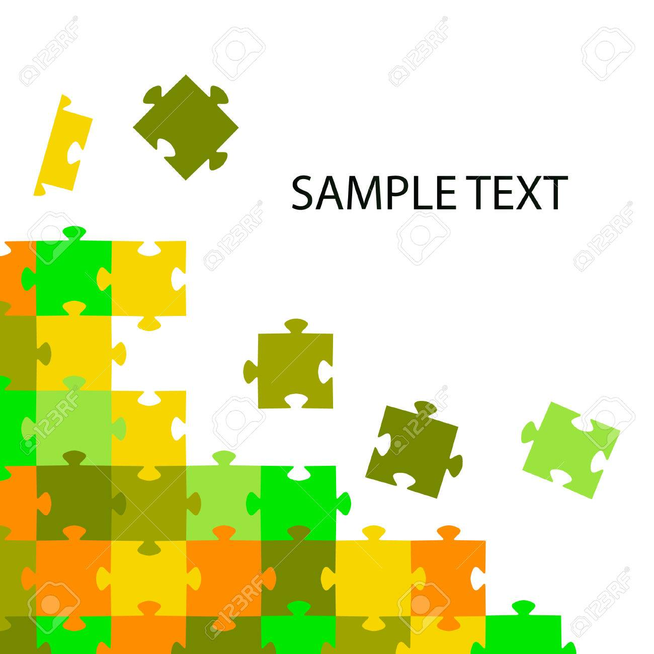 Multi-coloured puzzles on a white background. Stock Vector - 7098503