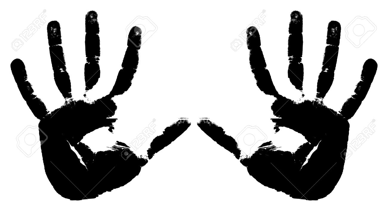 Black prints of two hands on a white background - 7543909