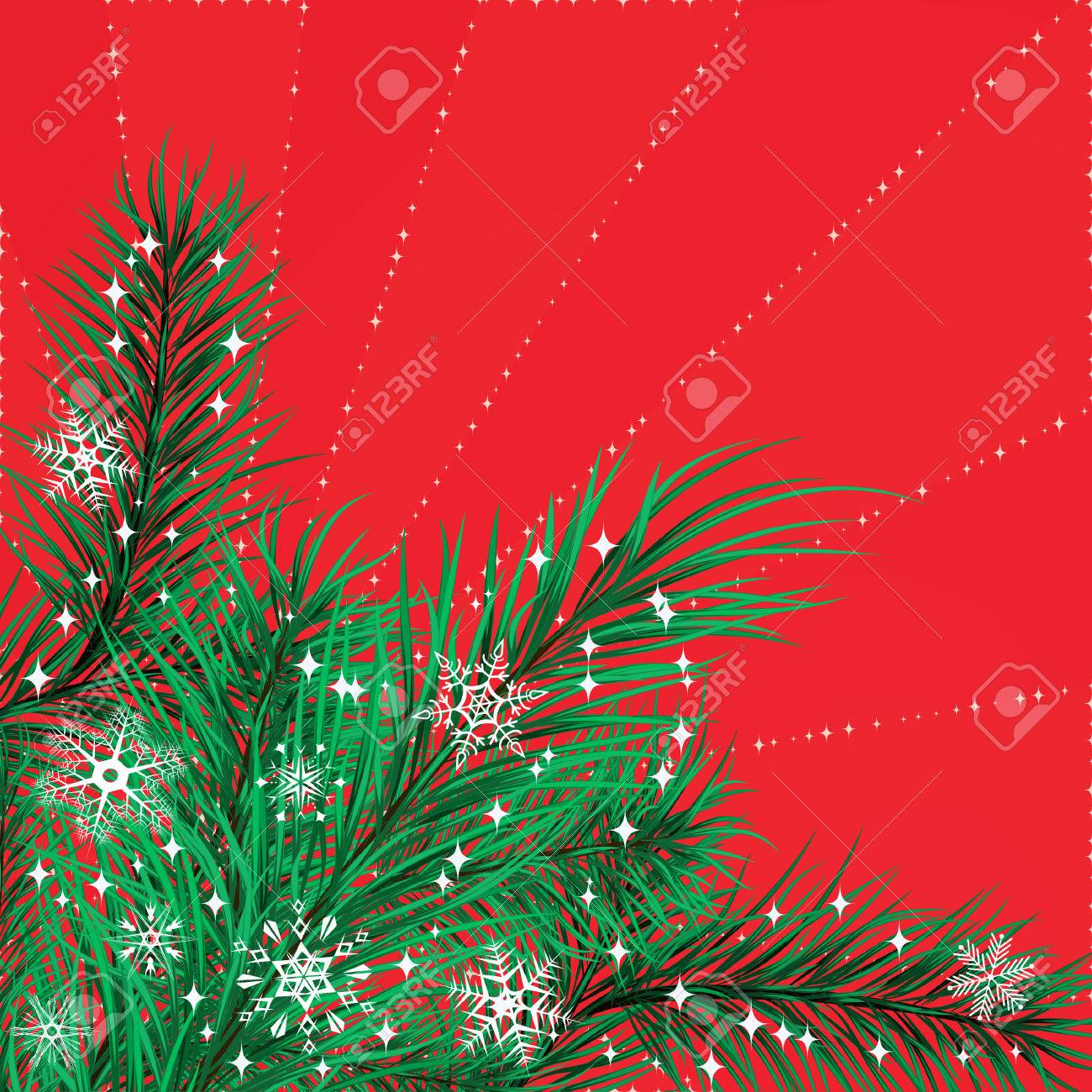 Christmas card with pine branches Stock Vector - 7543910