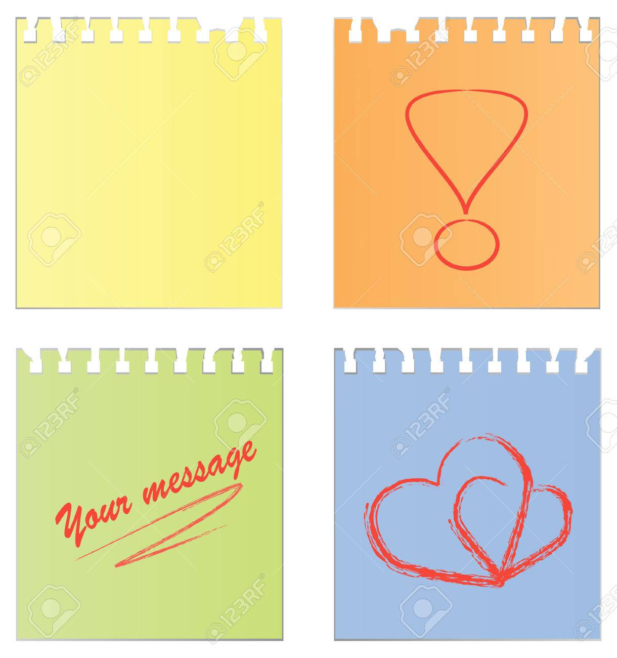 Set of an empty paper and a paper with notes Stock Vector - 8553271