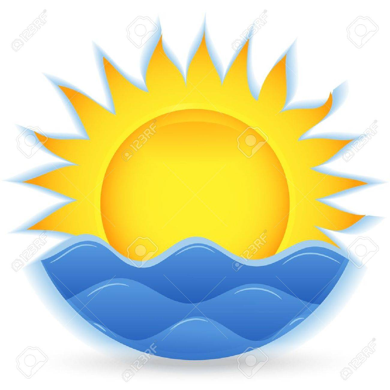 The sun and the sea. An icon for the project. Vector illustration - 9613551