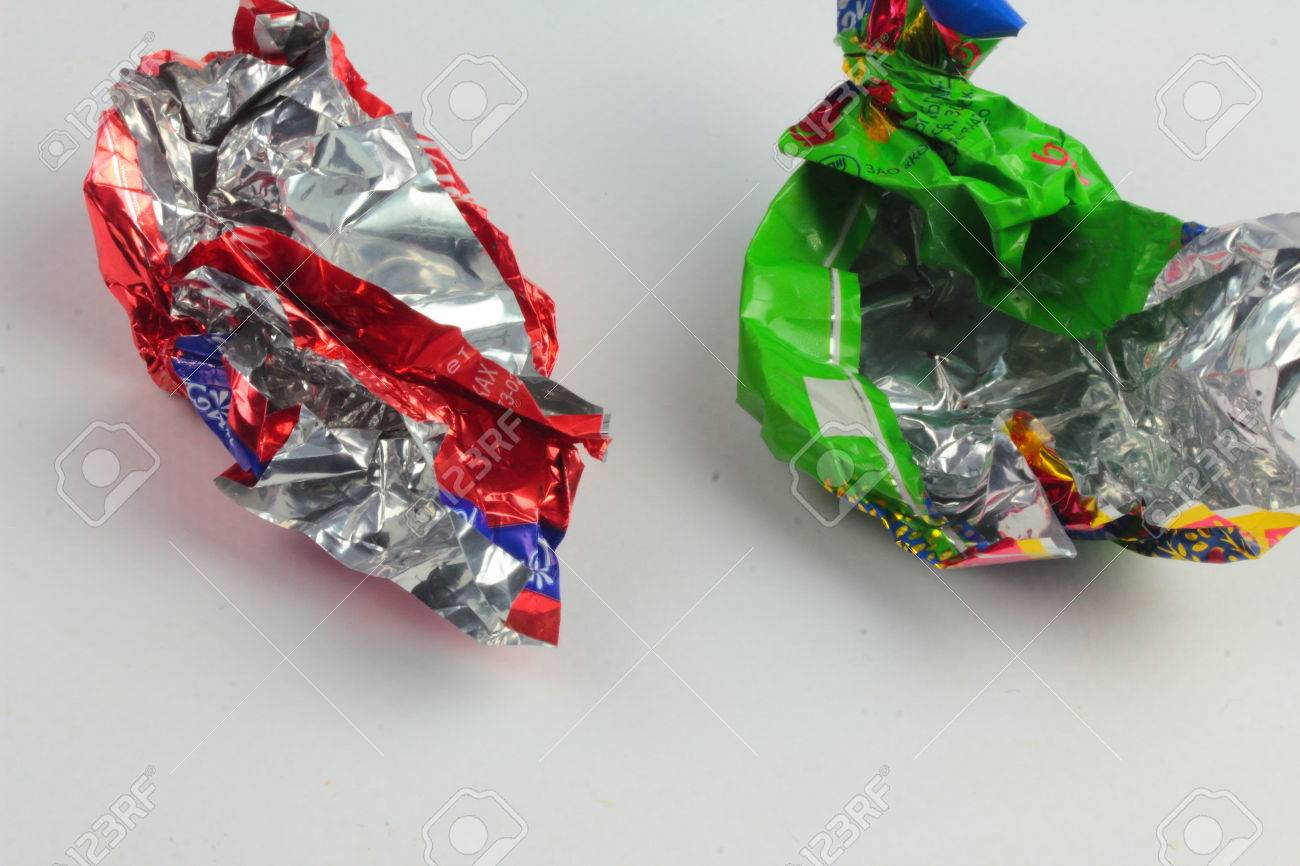 Are Two Empty Candy Wrappers From Sweets Stock Photo