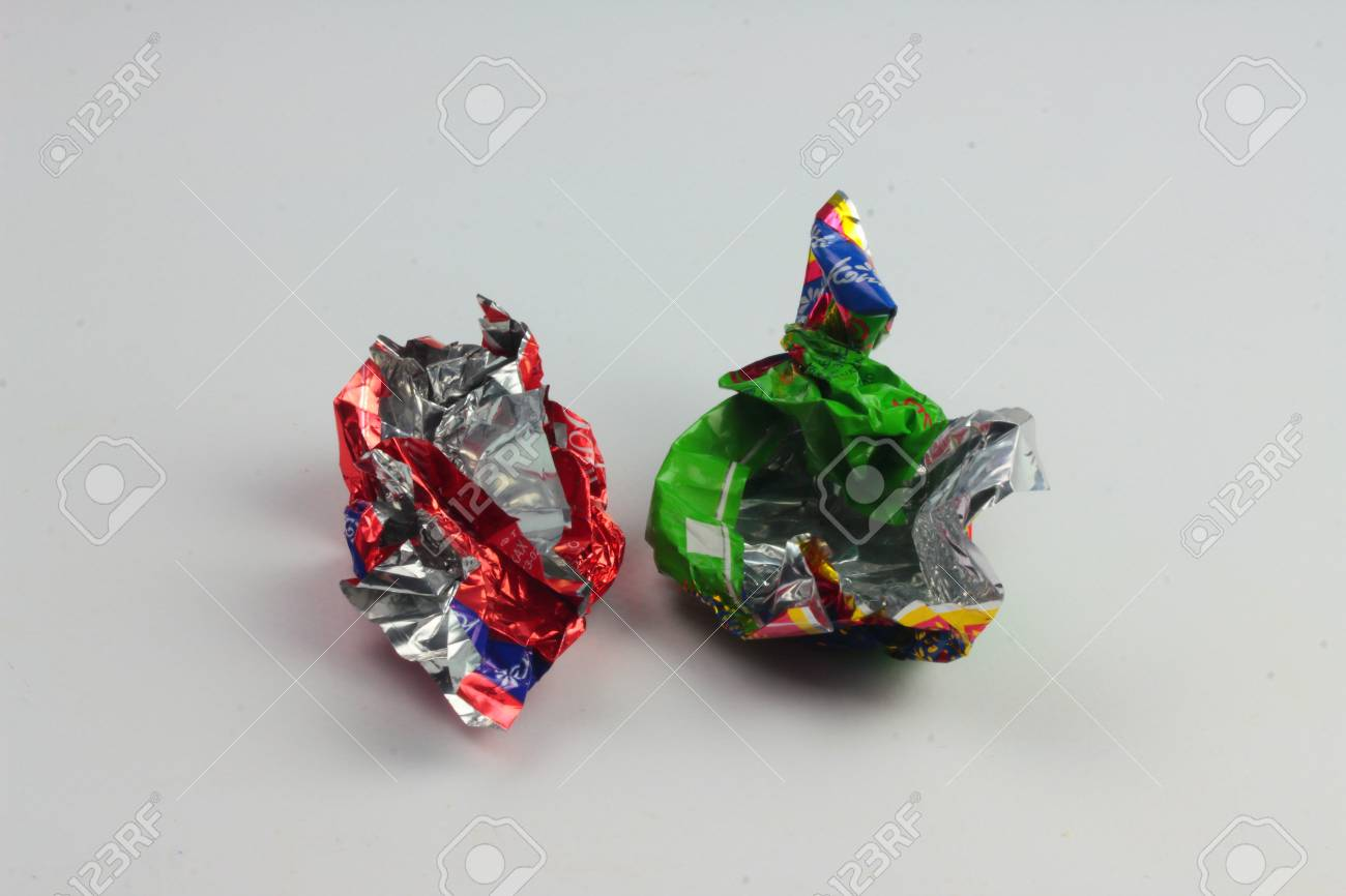 are two empty candy wrappers from sweets Stock Photo - 52260470