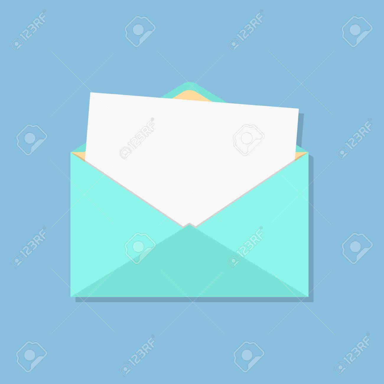 open envelope with white sheet. isolated on blue background. flat style design modern vector illustration - 35085145
