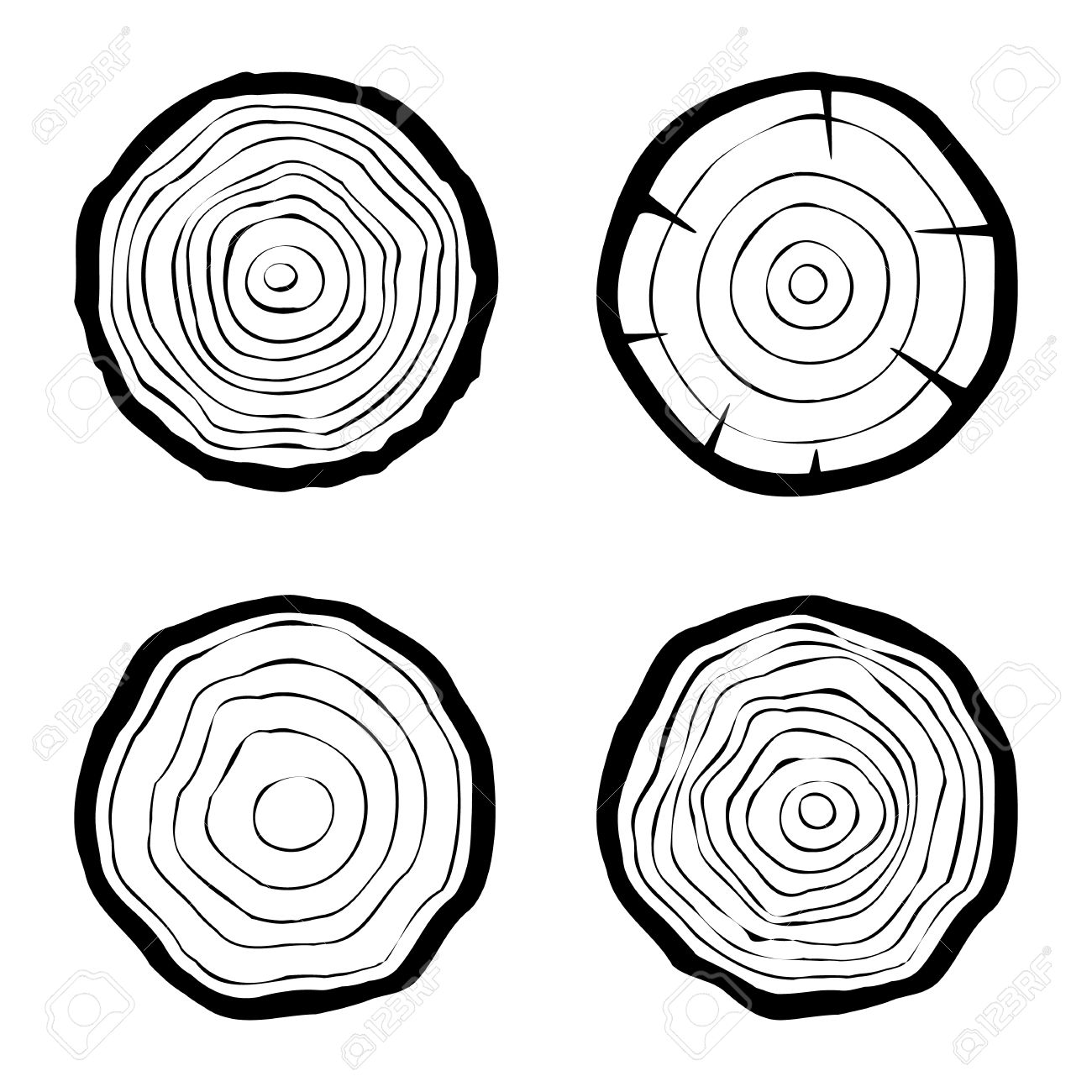 set of four tree rings icons. concept of saw cut tree trunk, forestry and sawmill. isolated on white background. logo design trendy modern vector illustration - 37102209