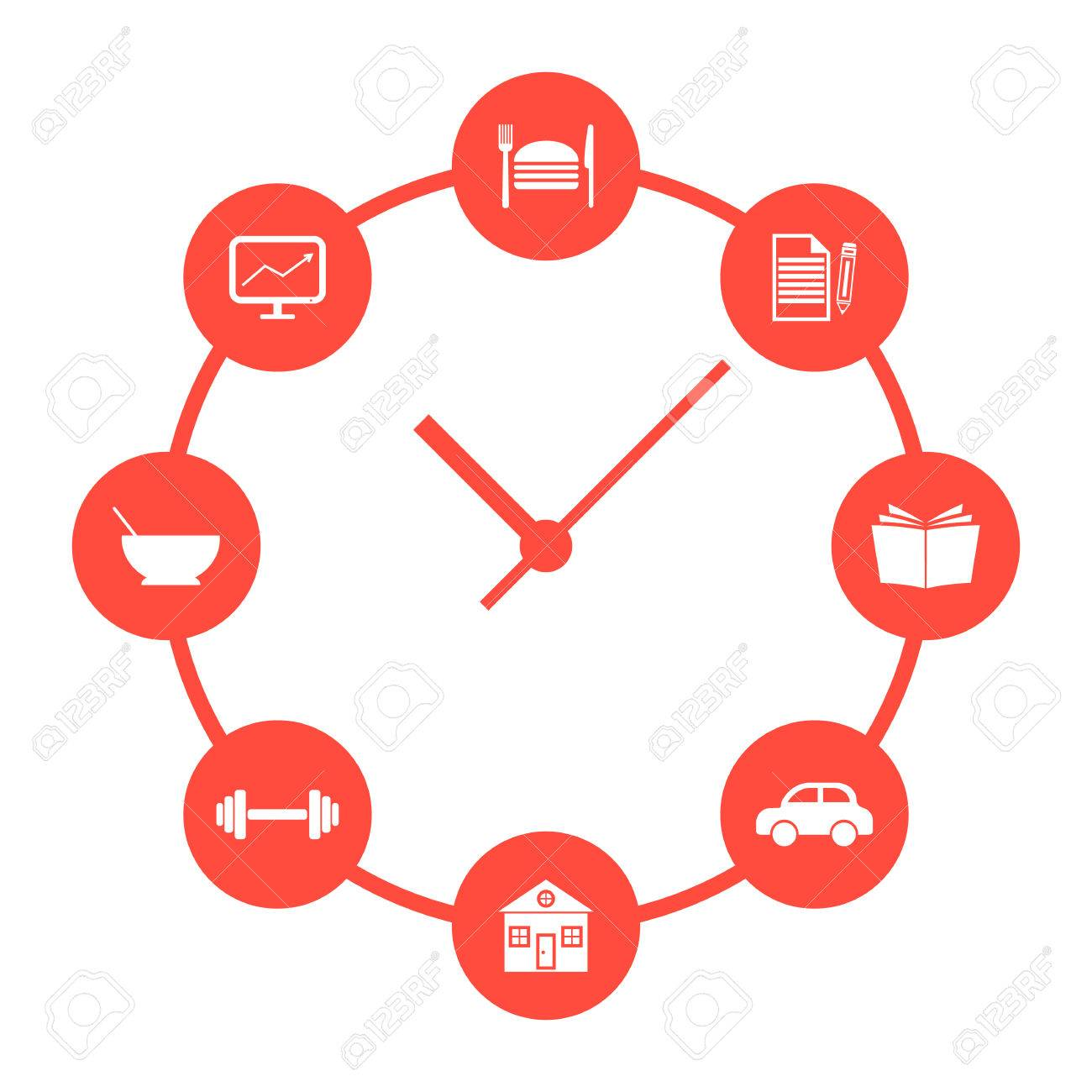 Concept of daily routine with red simple watches conceptual concept of daily routine with red simple watches conceptual of time passes infographics and biocorpaavc