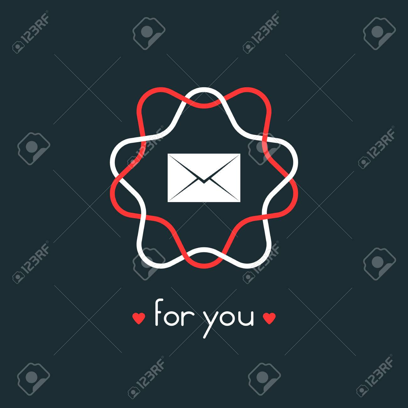 letter for you with red and white sign  concept of billet-doux,