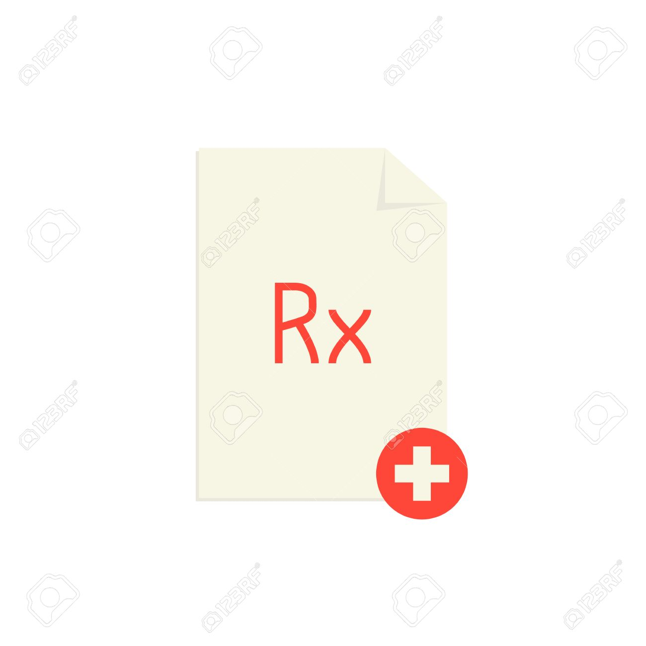 Medical Prescription With Red Rx Symbol And Cross Concept Of