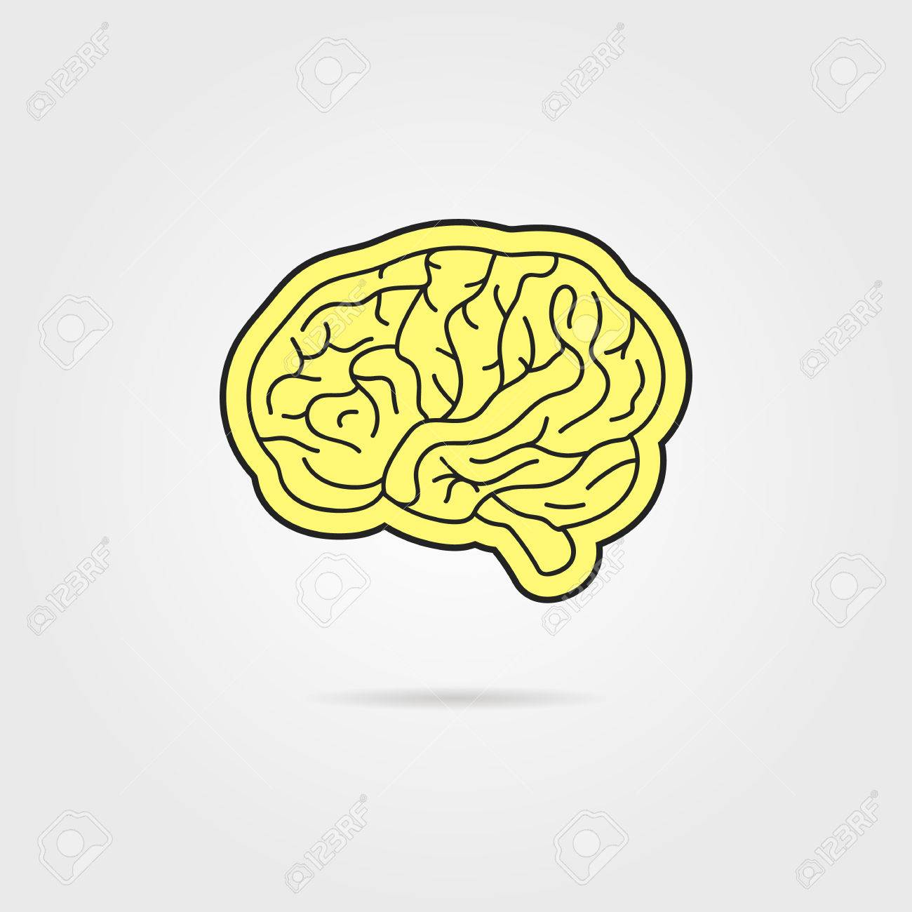 simple black and yellow brain  concept of thinking, artwork,