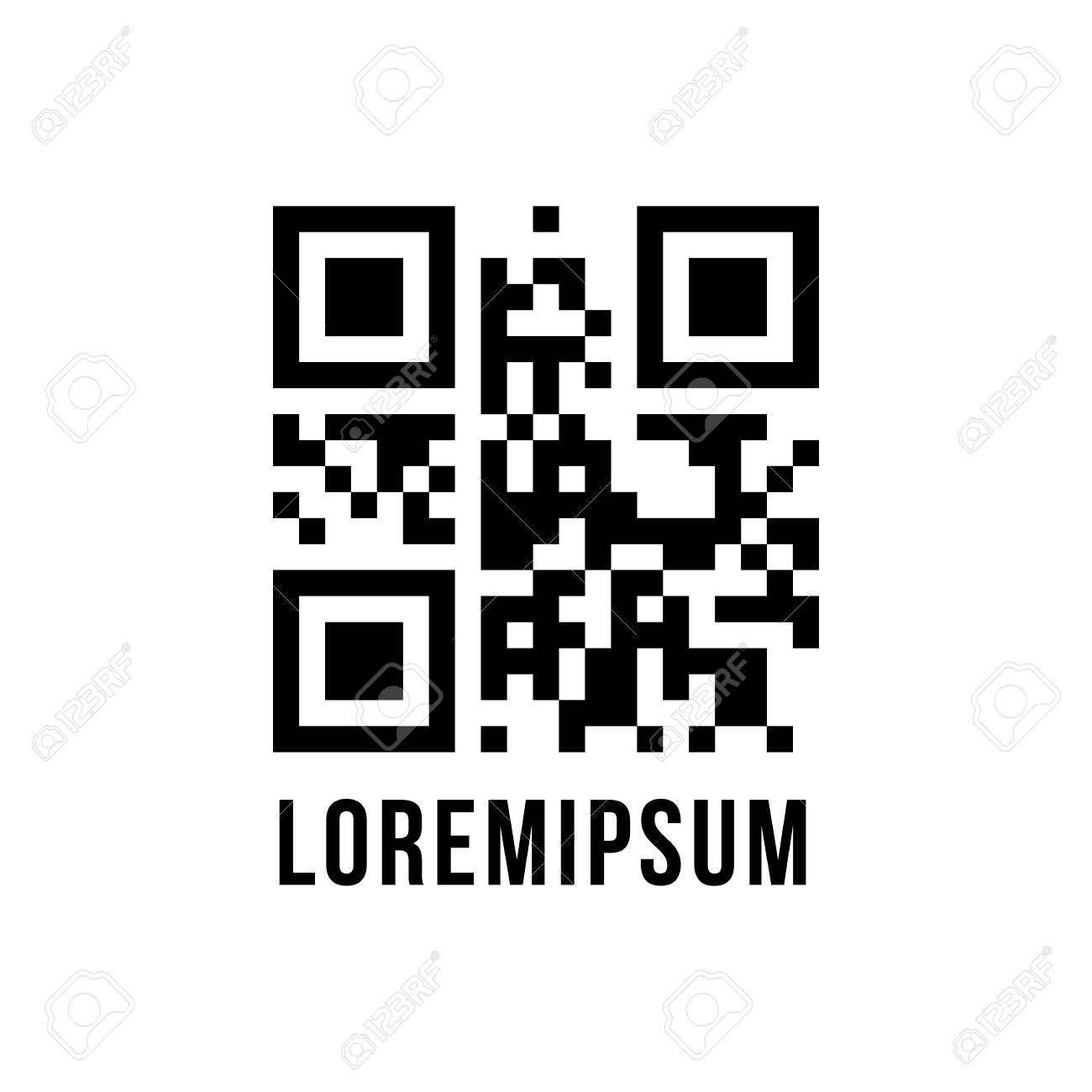 Code Qr Avec Le Texte Chiffré Lorem Ipsum Concept De Pixelart Labyrinthe Ou Labyrinthe Numérisation Vente Paiement Isolé Sur Fond Blanc