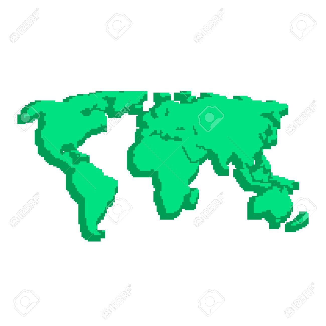 Green 3d World Map Like Pix Elements Concept Of Locations 8bit