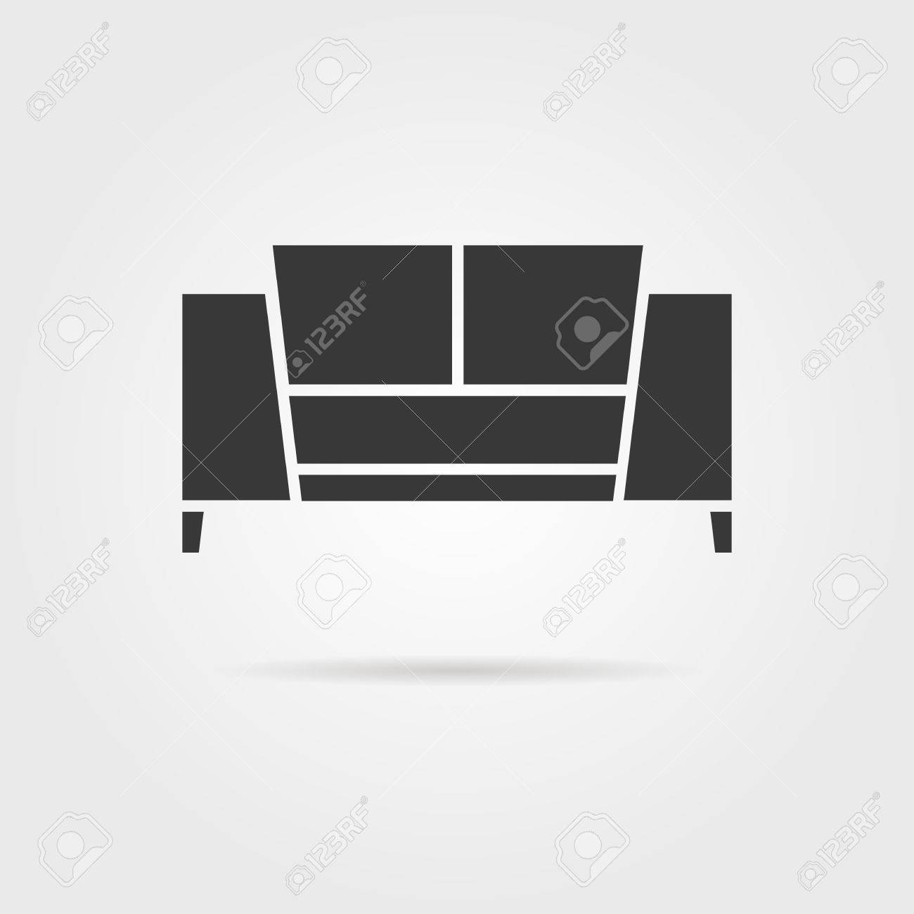 Black Sofa Icon With Shadow. Concept Of Living Room, Apartment ...