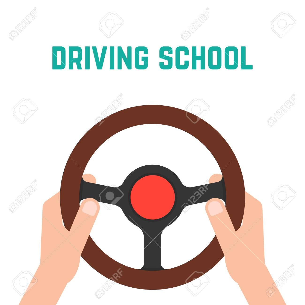 hand holding steering wheel. concept of trip, highway, guide, equipment, rudder, handlebar, training in driving school. - 53551923