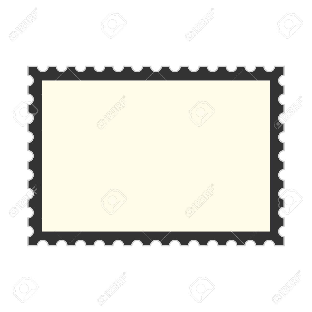 Delightful Black Postage Stamp Template. Concept Of Message, Indentation, Cardboard,  Stationery, Poststamp