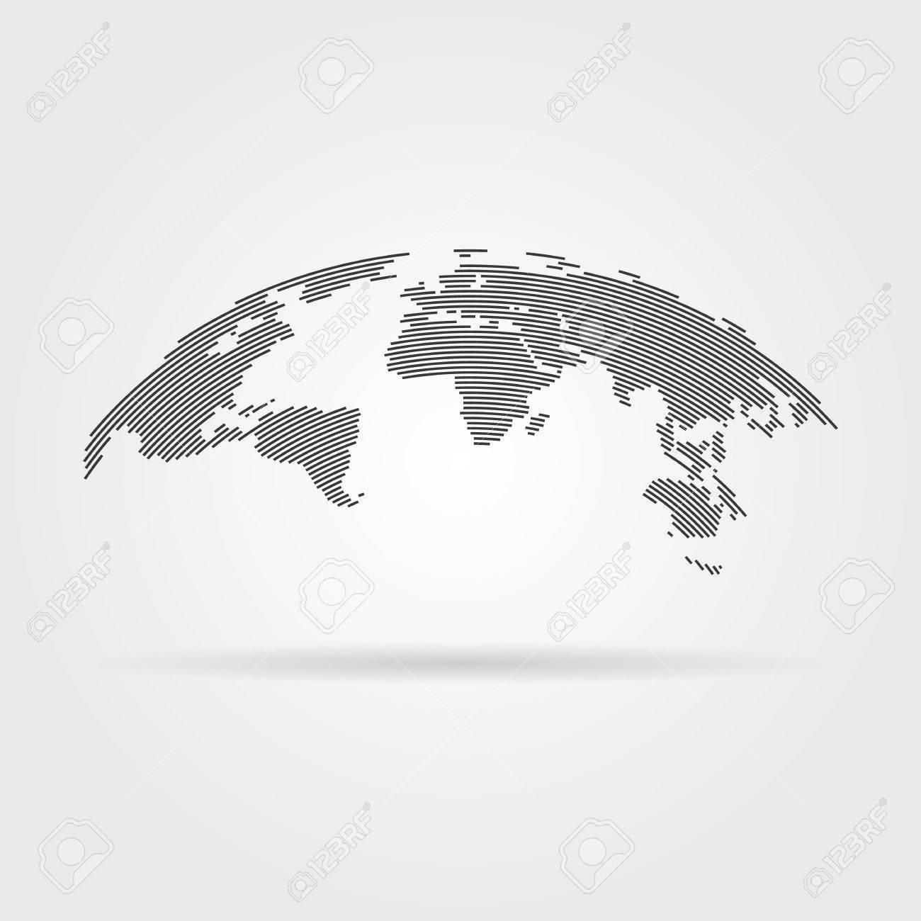 simple black world map from thin line. concept of infographics element, trip around the world, globalization. isolated on gray background. flat style trend modern logo design vector illustration - 57651517