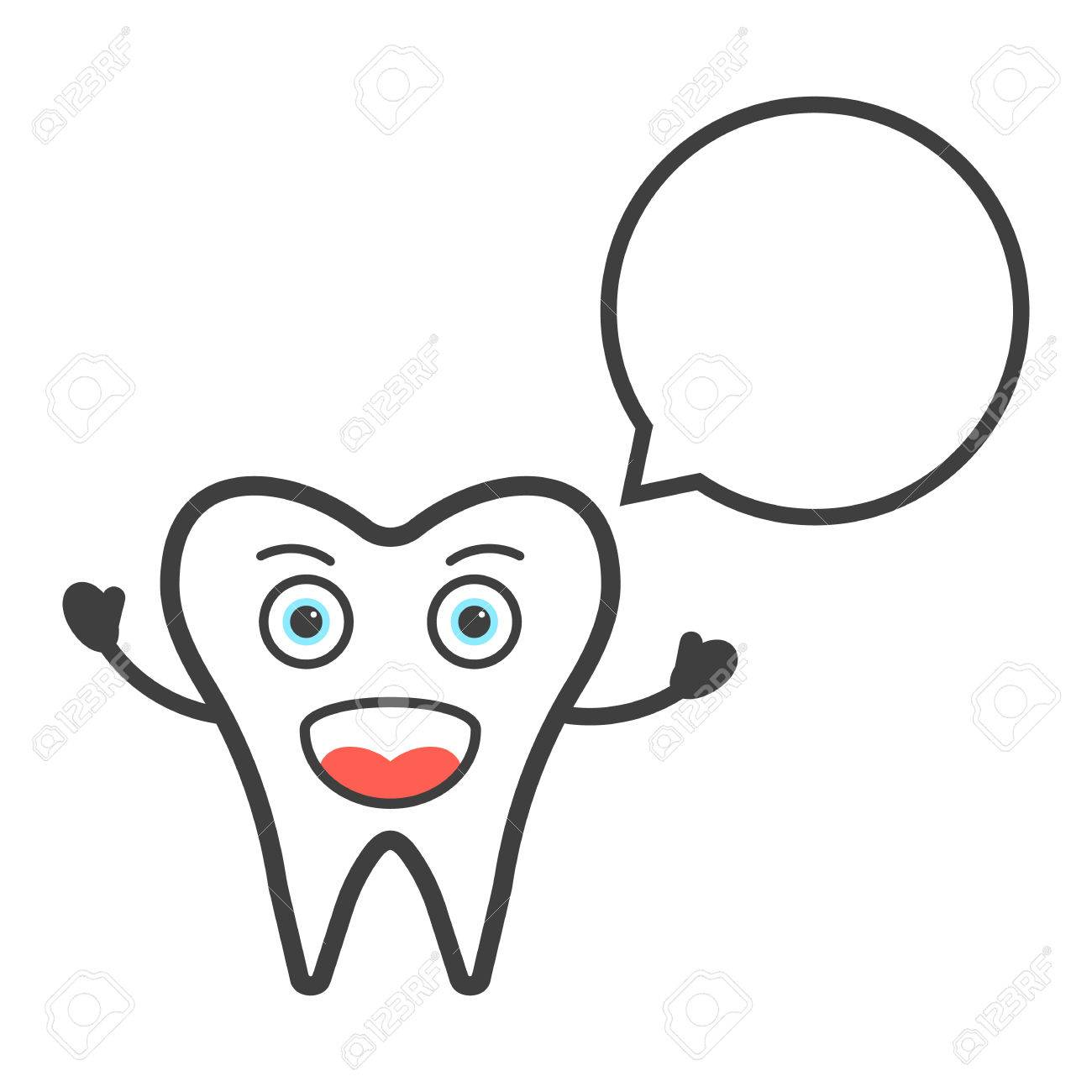 Funny Tooth Character With Speech Bubble. Concept Of Anatomy ...