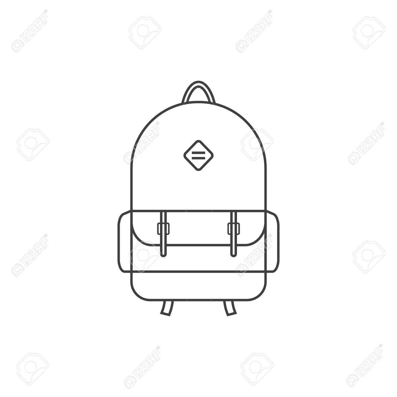 Thin Line Black Backpack Icon Concept Of Camping Recreation