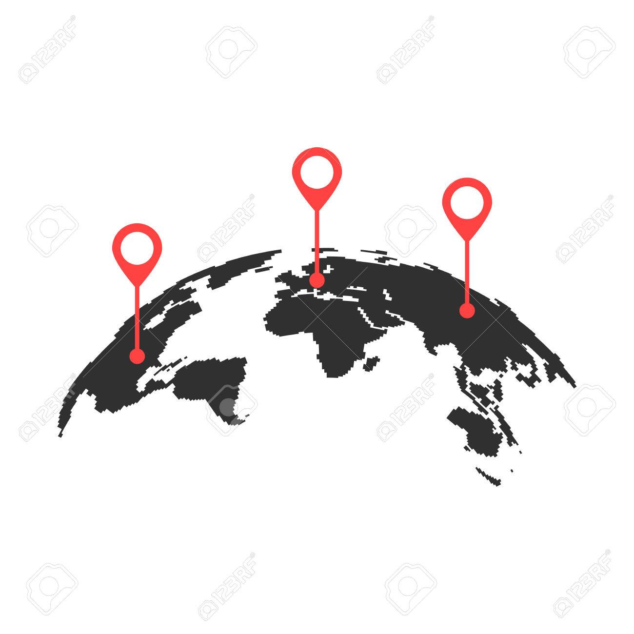 Curved world map with red pins royalty free cliparts vectors and curved world map with red pins stock vector 75989863 gumiabroncs Image collections