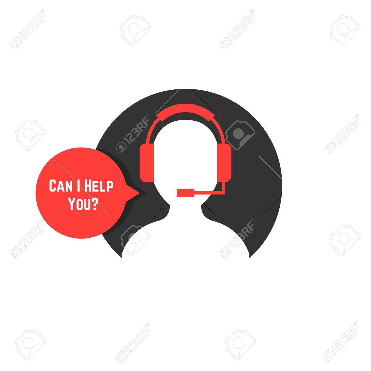 silhouette assistant with red bubble. concept of crm, ui, seo, repair, learning, tech care, e-commerce, retail, mobile app. flat style trend modern logo design vector illustration on white background - 82175806
