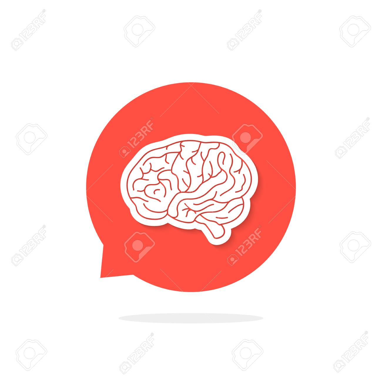 A Red Speech Bubble With Brain And Shadow. Concept Of Training ...