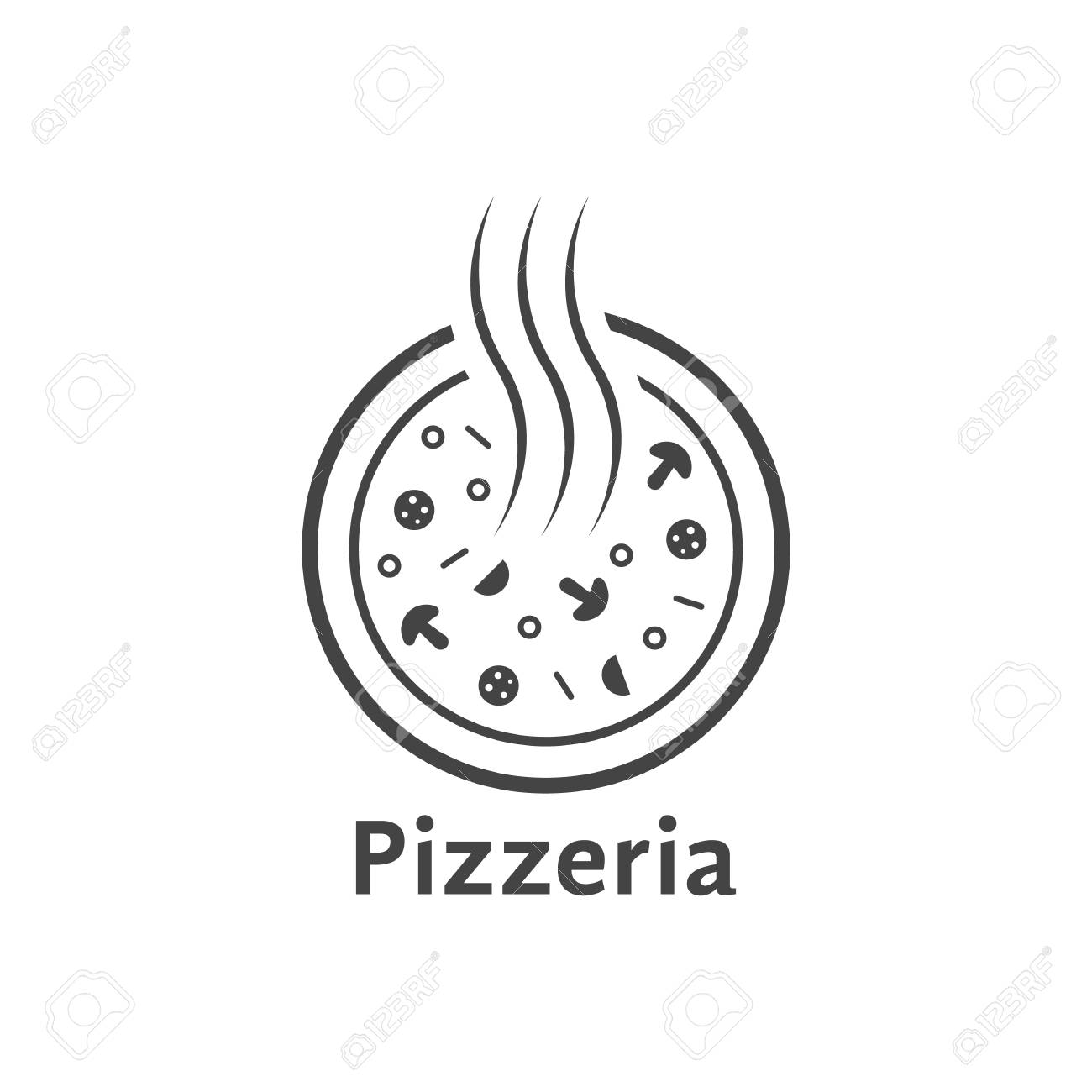 Simple Outline Pizzeria Logo. Concept Of Tasty, Ingredients ...