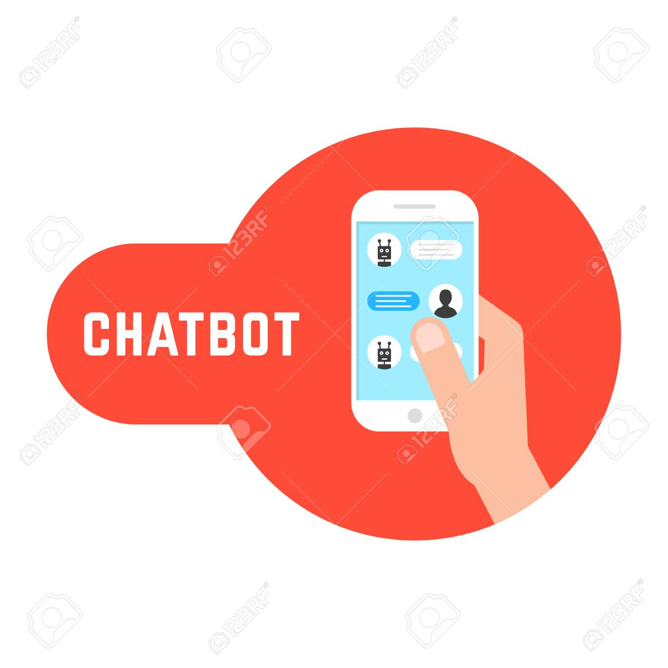 Hand holding phone with chatbot  concept of send sms, irc script