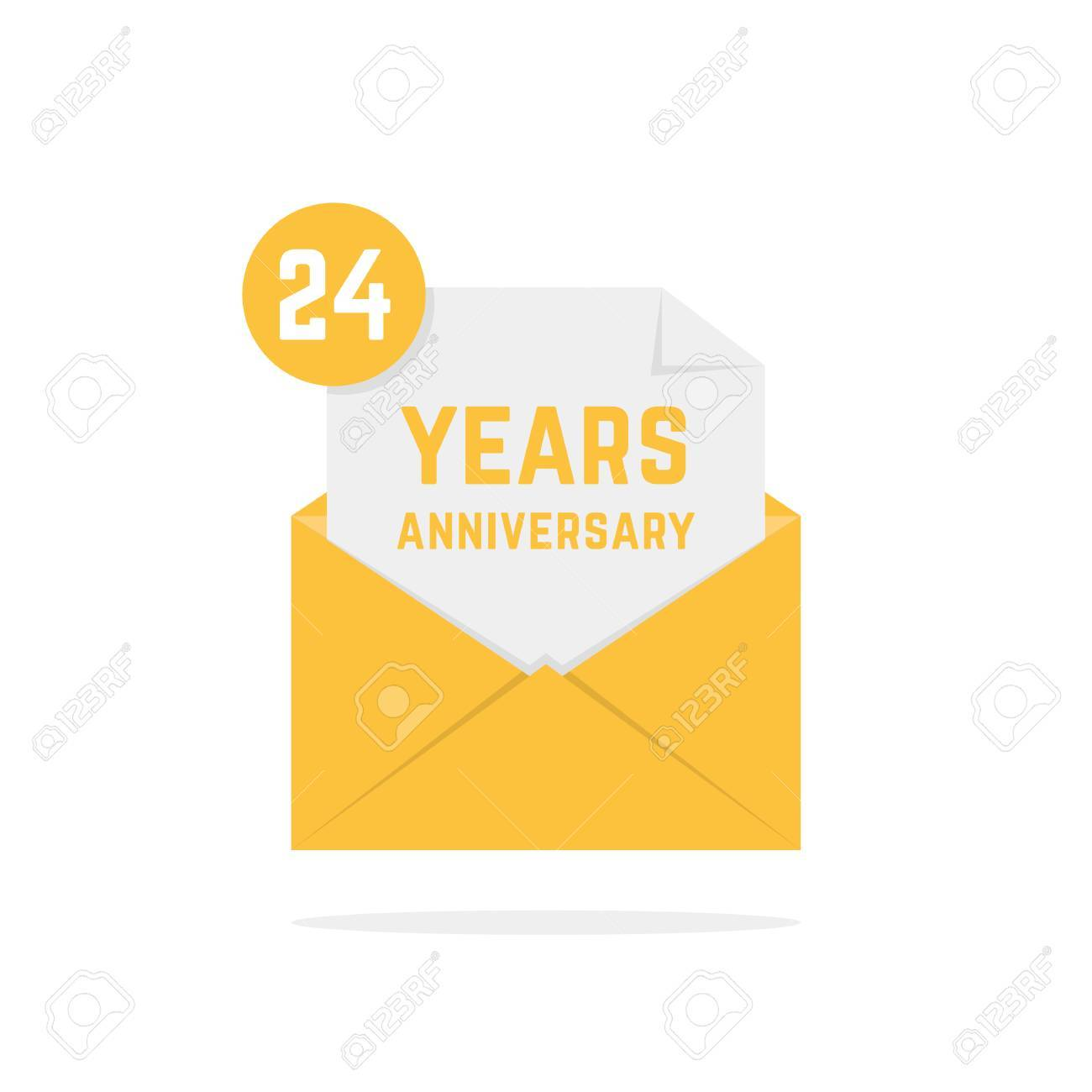 24 years anniversary icon in open letter