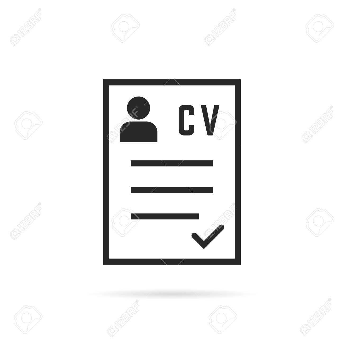 Black Thin Line Cv Icon Or Curriculum Vitae Royalty Free Cliparts