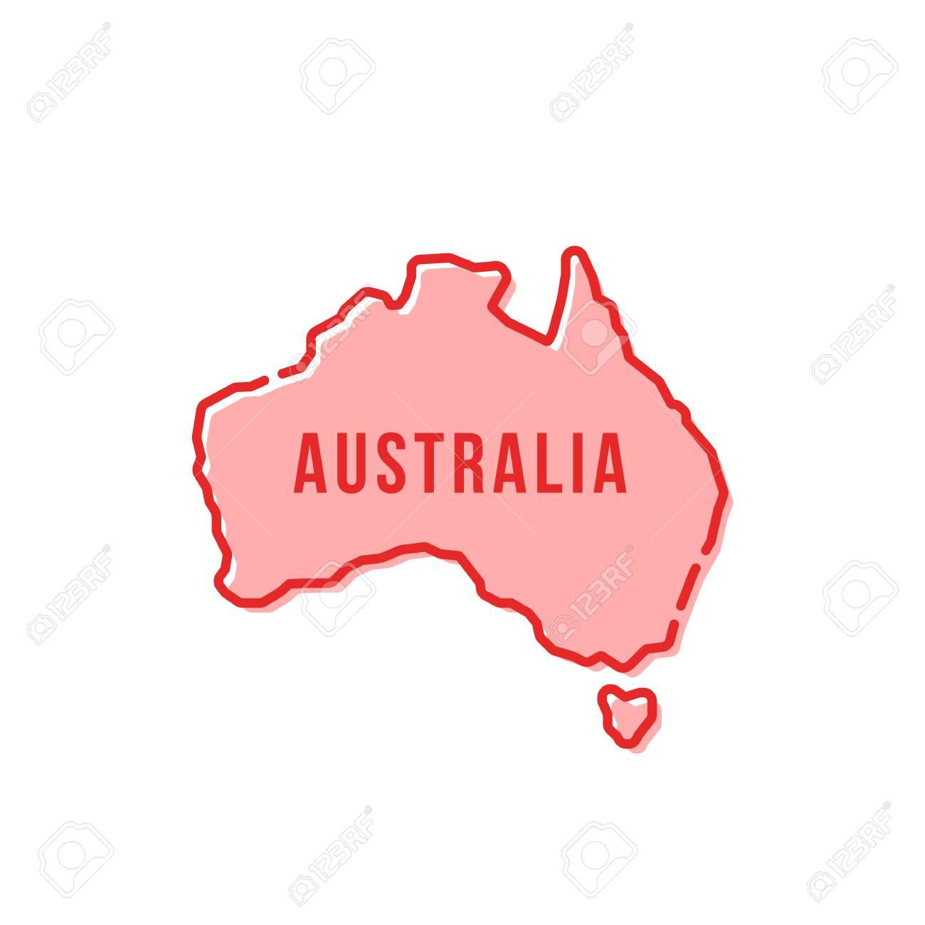 Australia Map Icon.Red Simple Thin Line Australia Cartoon Map Icon