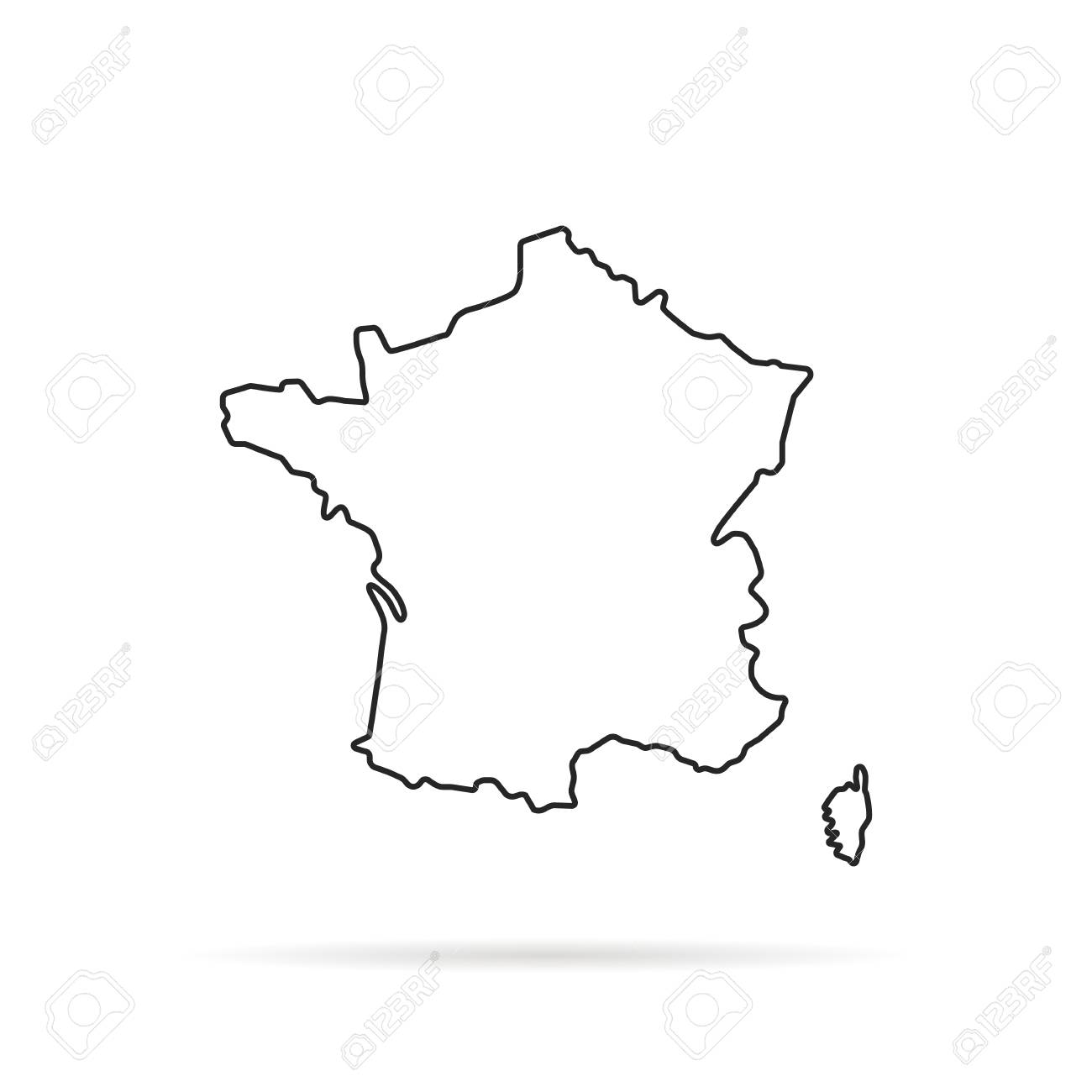 Outline Of Map Of France.Black Outline Hand Drawn Map Of France