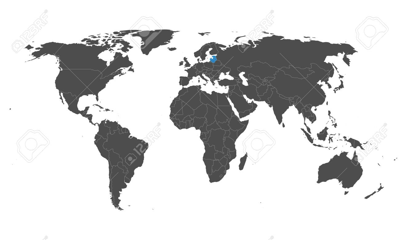 Baltic states Latvia, Estonia, Lithuania highlighted blue on world map vector. Gray background. - 148286596