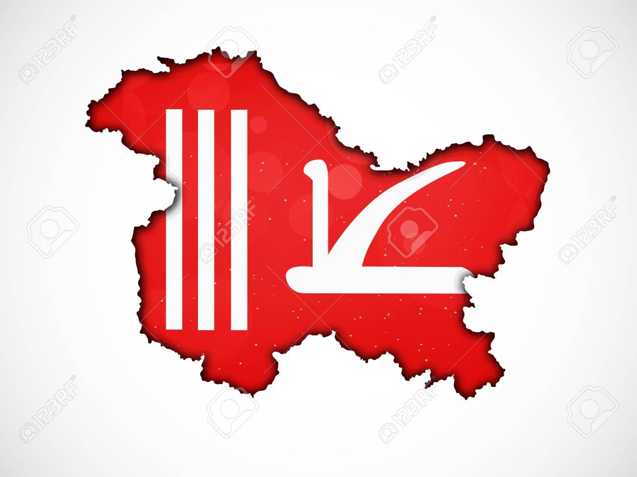map jammu and kashmir flag Illustration Of Indian State Jammu Kashmir Flag With Map Royalty map jammu and kashmir flag