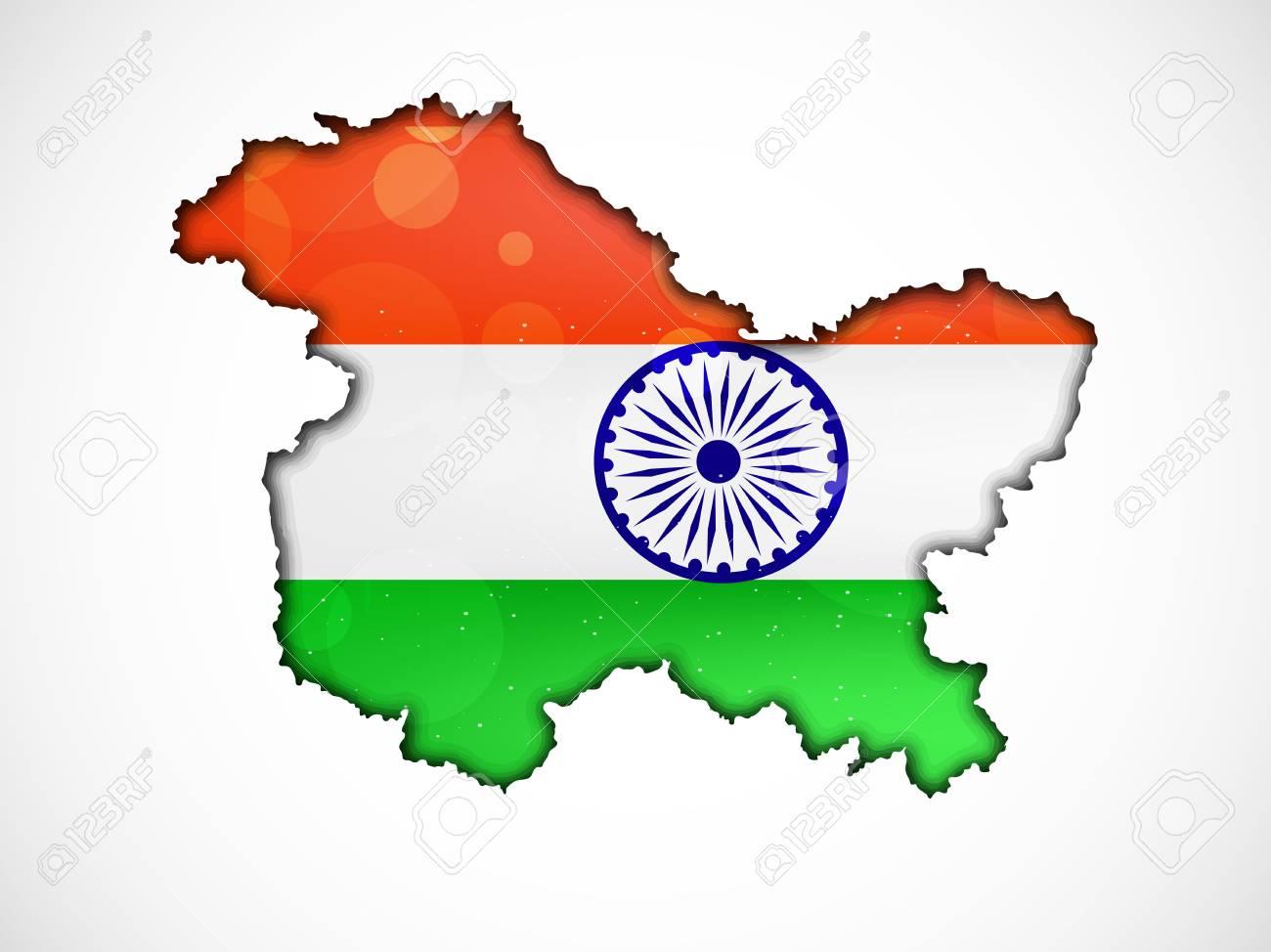 map jammu and kashmir flag Illustration Of Jammu Kashmir Map With Indian Flag Royalty Free map jammu and kashmir flag