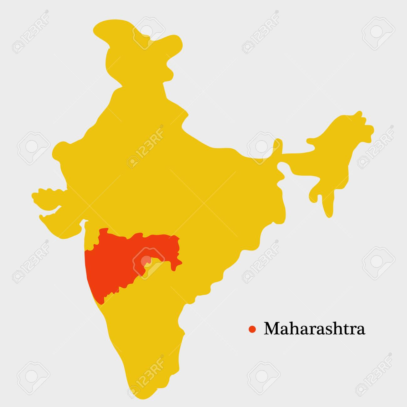 Illustration Of India Map Showing Indian State Maharashtra With