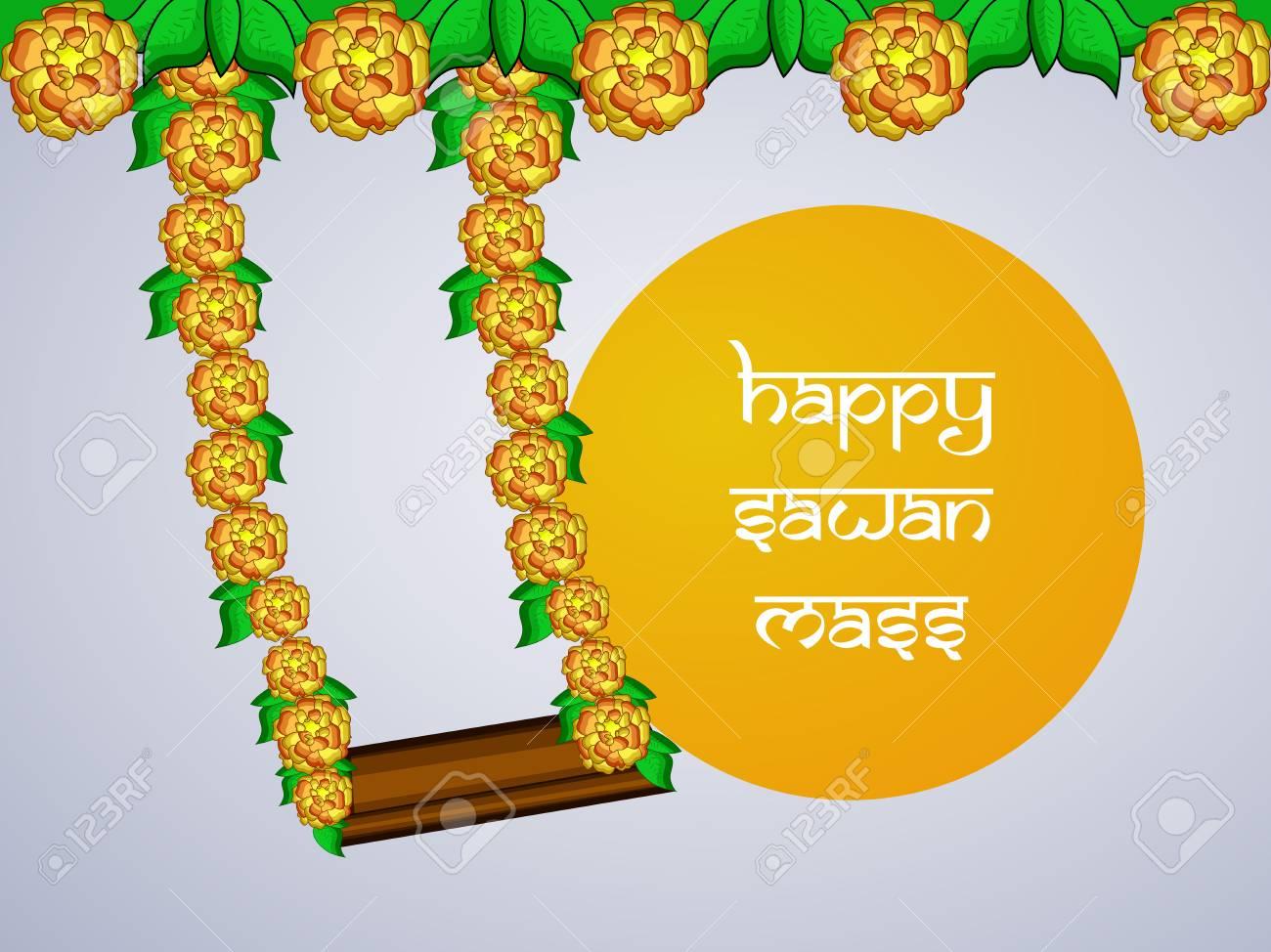 Illustration of background for Hindi Festival Sawan