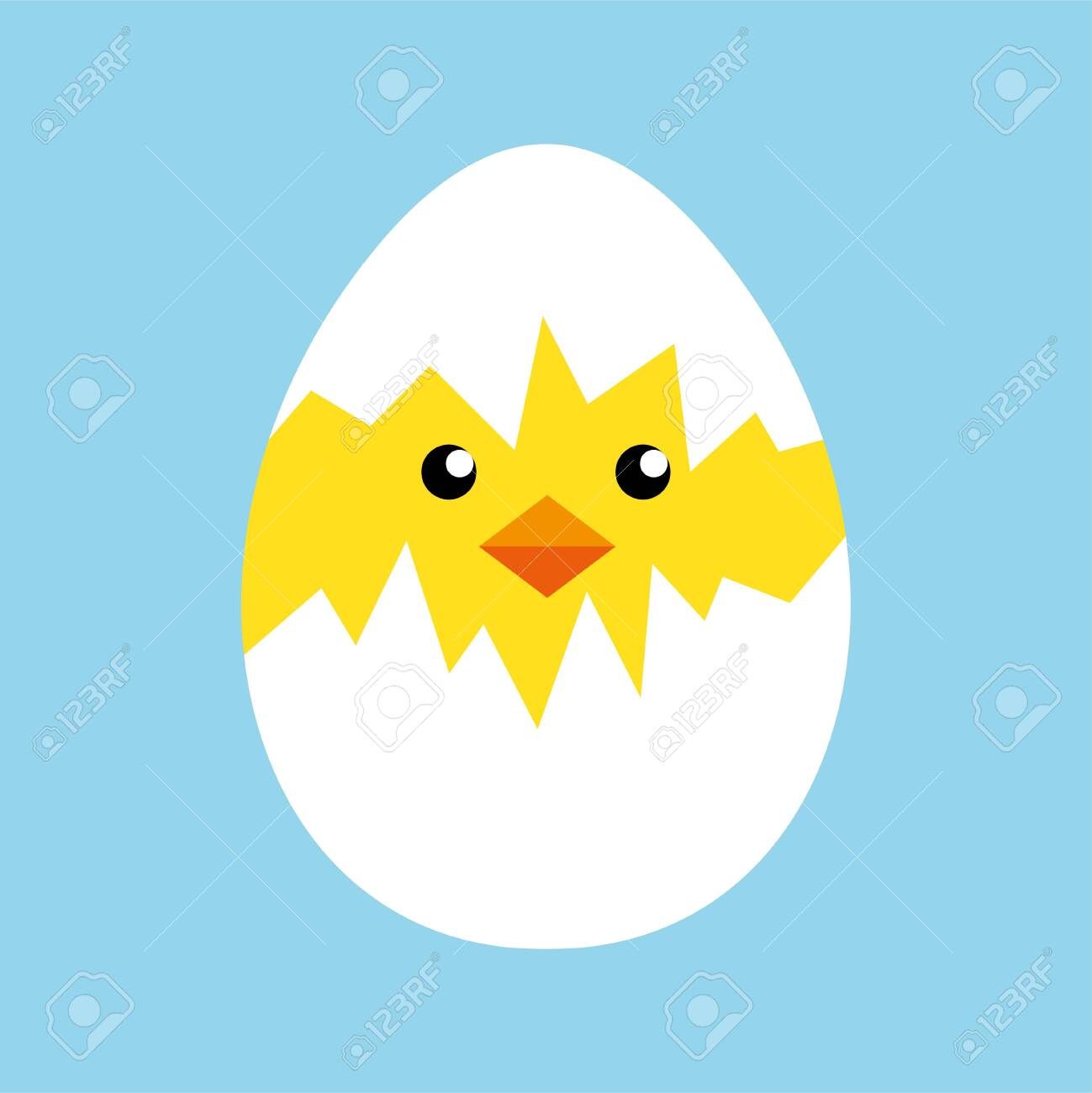 Happy easter egg chick sign, background vector - 144230665
