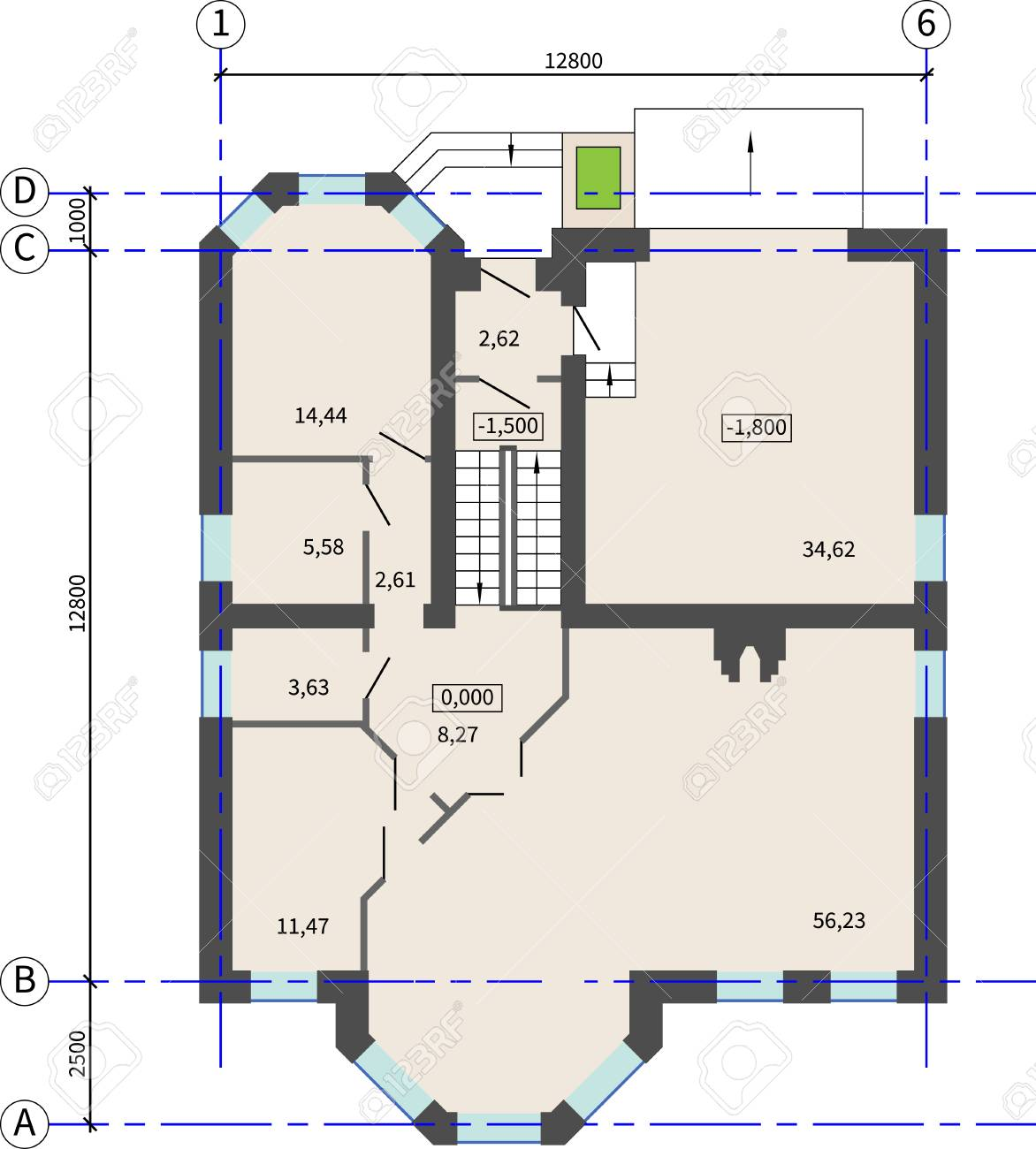 floor plan furniture vector. First Floor Plan Of An Apartment House Without Furniture. Vector Drawing. Architectural Background. Furniture