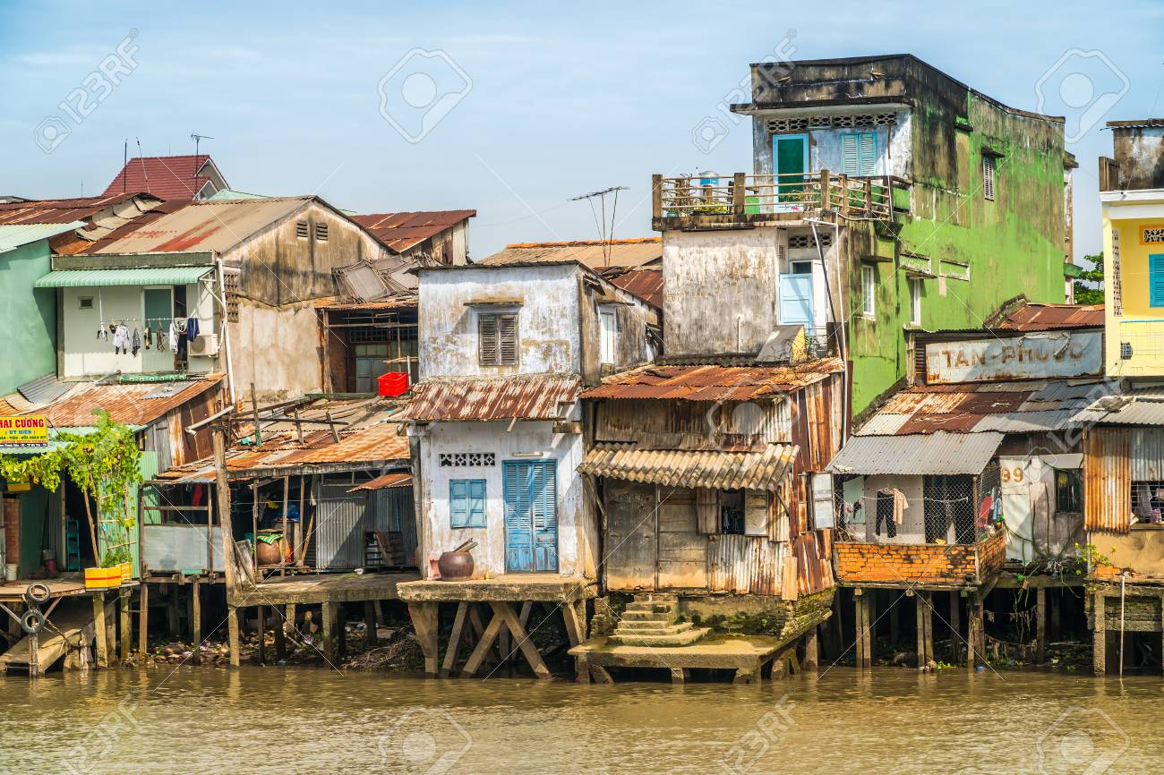 My Tho December 22 2017 Vietnamese Houses Above The Water Stock Photo Picture And Royalty Free Image Image 97816405