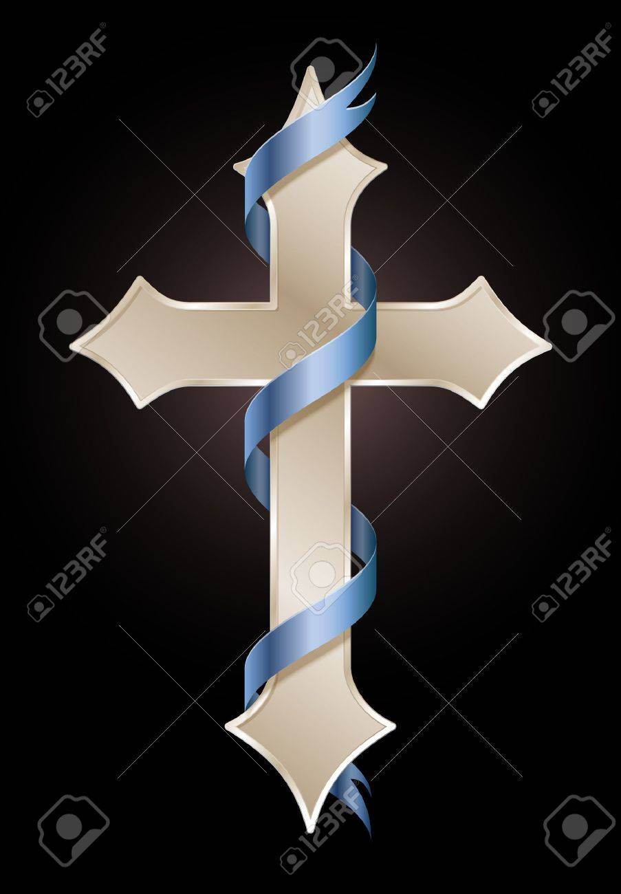Golden cross with blue banner symbol of hope and faith royalty golden cross with blue banner symbol of hope and faith stock vector 19304829 buycottarizona