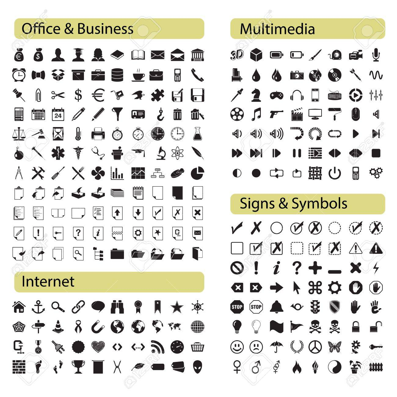 Professional icons set Office, Media, Internet and symbols Stock Vector - 20004539