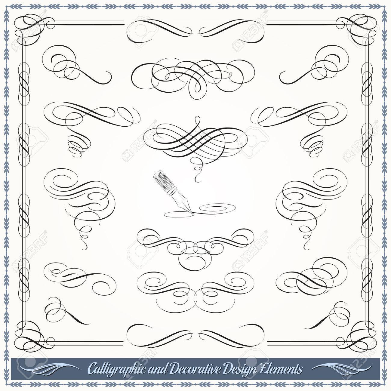 Elementos Decorativos Caligráficos En Formato Vectorial. Ideal Para ...