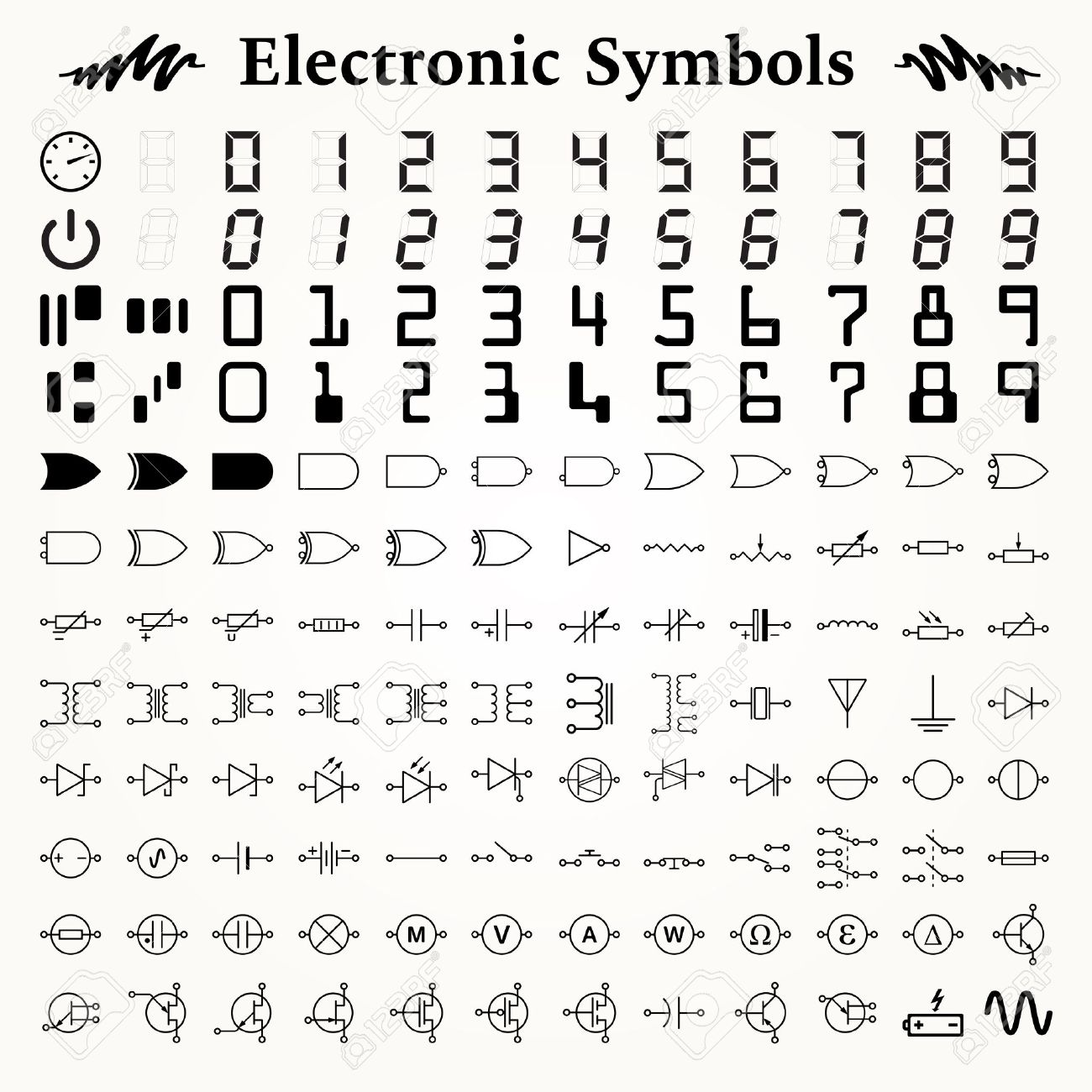 Electronic Symbols Symbol Wikipedia 96 And Circuit Picture Quiz By Max123 Elements Of Icons Signs Royalty Free
